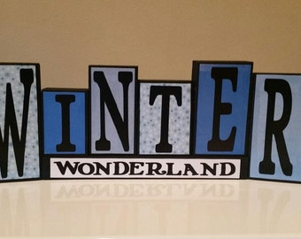 Winter Wonderland Wood Block Decor