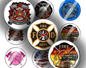 "Digital Bottle Cap Collage Sheet - Firefighters - 1"" Digital Bottle Cap Images"
