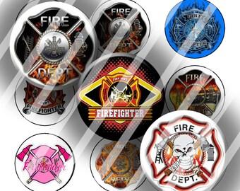 Digital Bottle Cap Collage Sheet - Firefighter 2 - 1 Inch Circles Digital Images for Bottlecaps