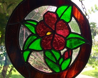 Pink Hibiscus Round Stained Glass Panel,Flower, Suncatcher, Home Decor, Gift,