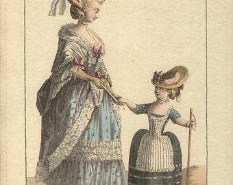 antique 1778 fashion print Plate 45 Gallerie des modes esnauts et rapilly le clerc dupin original