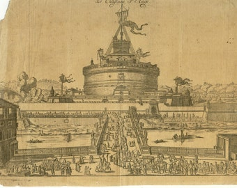 antique engraving the castle of st angelo hand laid paper