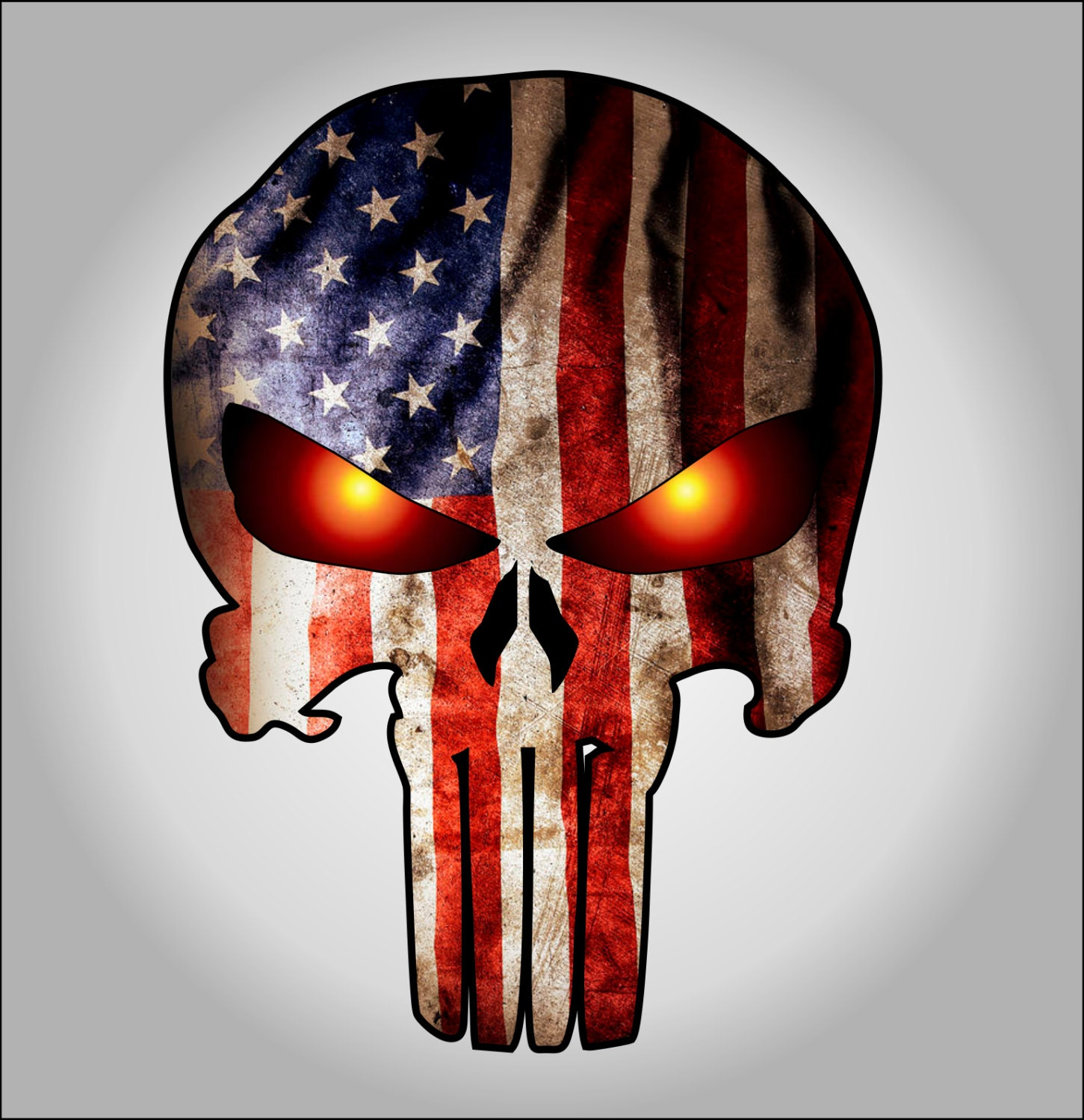 Punisher With American Flag And Glowing Eyes Sticker Decal