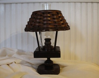 Wooden Candle Hurricane Lamp