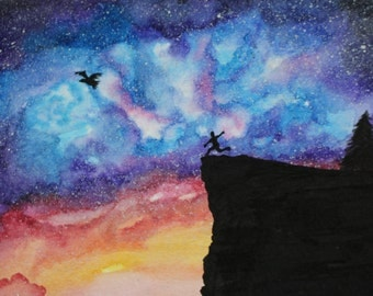 Cosmic Universe Leap of Faith Transformation Original Watercolor Painting