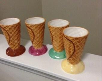 Vintage New Waffle Sugar Cone Ice Cream Sundae Dishes/ Bowls by Lotus