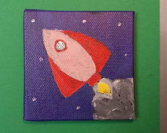 "Red Rocket Magnet 3x3"" Hand Painted on Canvas Board"