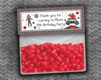 Sock Monkey Birthday Party Thank You Favor Bag Topper / Digital File