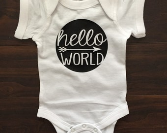 Hello world, baby shower gift, newborn, coming home outfit