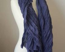 Violet summer scarf - Cotton gauze scarf - Woman spring  scarf  - Ruffled lightweight scarf  - Stonewashed Scarf - Fashion accessories