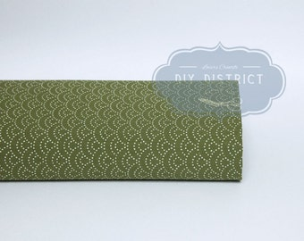 Green olive Seigaiha Japanese fabric.