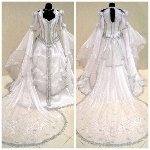 Medieval wedding dress silver gothic witch tudor renaissance for Tudor style wedding dress