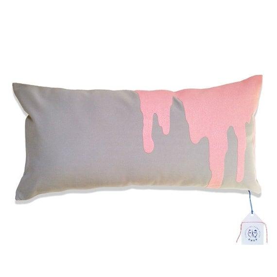 Light Gray Decorative Pillow : Items similar to pink splash - on light grey throw pillow toss pillow decorative pillow ...