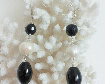 Black Onyx earrings and white freshwater pearls