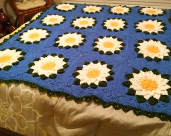 Hand Crocheted Water Lily Throw