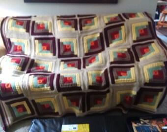 Handmade, crochet, Log Cabin Afghan