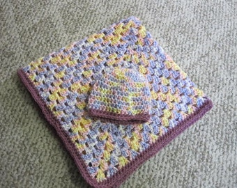 "Crochet Baby blanket and beanie, 27"" x 27"", vericated colors READY TO SHIP"