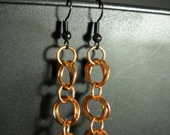 Copper Knotted Handmade Chain Mail Earrings - E0008