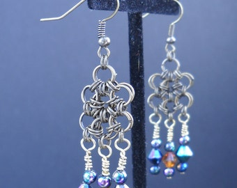 Handemade Hex Chainmail Earrings - E0021
