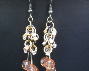 Handmade Peach Ruffled Ring Earrings -E0029
