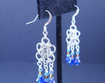 Blue Beaded Handmade Chainmail Hex Earrings - E0031