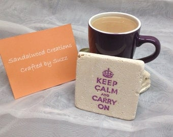 Keep Calm and Carry On Stone Coasters