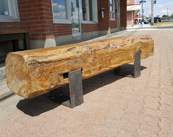 Barn beam bench with steel legs