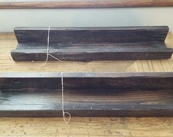 Rustic barn wood shelves