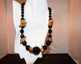Onyx and Brass Necklace