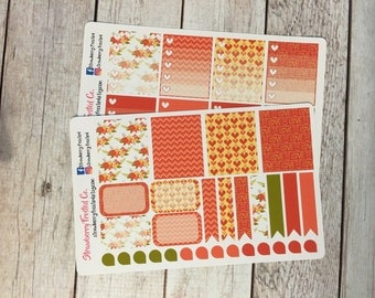 Rustic Floral Love Themed Planner Stickers - Made to fit Vertical Layout