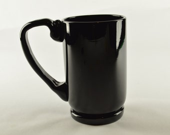 Hand Blown Glass Mug Black