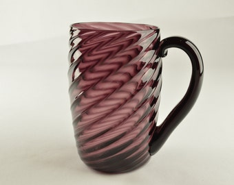 Hand Blown Glass Mug LIght Weight in Purple