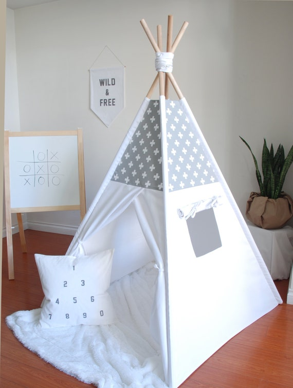 Like this item? & Grey and White Swiss Cross Canvas Teepee Play Tent Play
