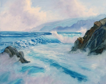 Sunrise Coastal Painting, Ocean Art, Seascape Painting, Ocean Waves Fine Art, Original Oil Painting on Canvas, Turquoise, Blue Sea