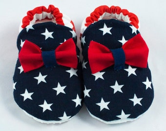 July 4th baby shoes, 4th of July baby shoes, Patriotic baby booties, America baby shoes, red white and blue baby shoes, July 4th baby