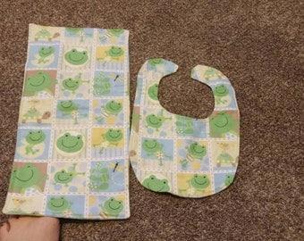 Frog bib and burp cloth set.