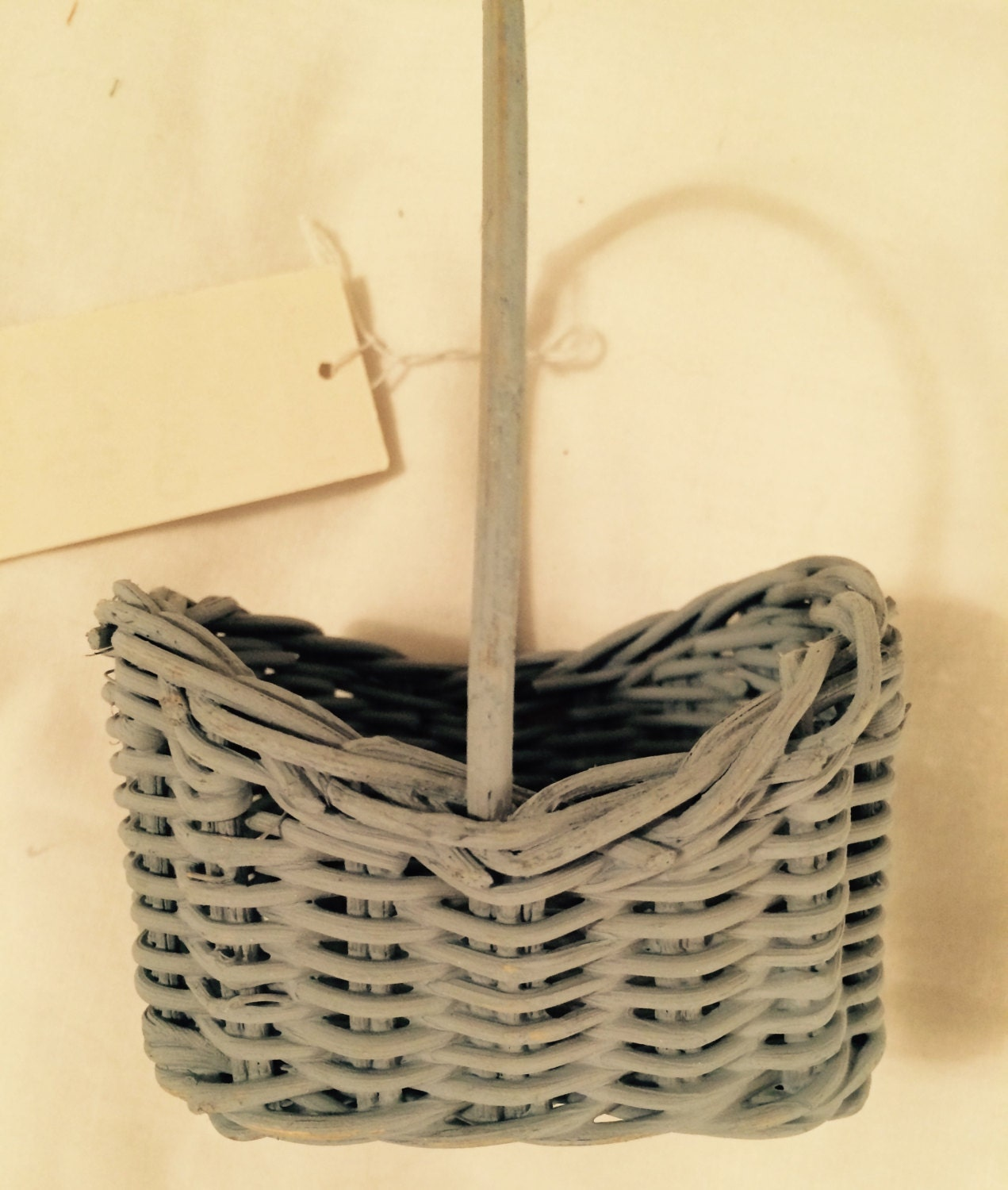 Tiny Wicker Basket With Handle : Small blue wicker basket with handle