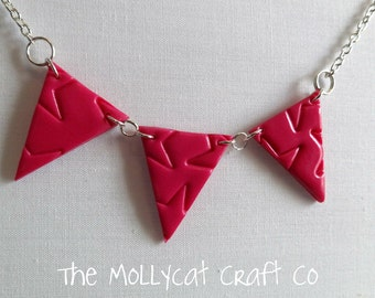 Pink bunting necklace. Bright pink bunting necklace. Pink Statement necklace.