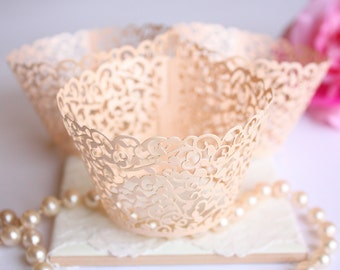 Rose Gold Lace Filigree Cupcake Wrappers for MINI or Standard Cupcakes, Shimmer Blush Laser Cut Elegant Lace Cupcake Liners - Set of 12