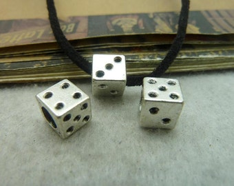 6 Dice Bead Charms, Antique Silver Tone (1P-28)