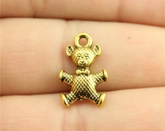 6 Teddy Bear Charms, Antique Gold Tone Charms (1C-204)