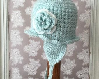 Crochet Baby Girl Earflap Hat with Flower