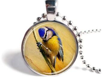 Blue Tit Pendant, Bird Necklace,  Bird Jewellery, Blue Tit Necklace, Blue Tit Jewellery, Bird Pendant, Bird Keychain, Bird Keyring