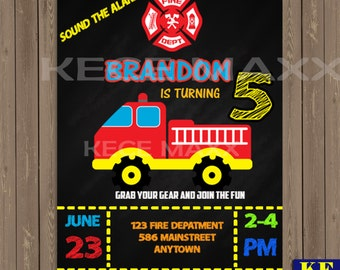 Fire Fighter Birthday Invitation,Fireman,Hydrant,Pipe,Water,Sirene,Kids Birthday Invitation,Chief,Fire,Fire Truck,Boys,Girl,Fire Departement
