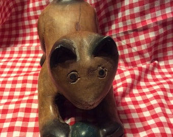 Wood Carving of Playing Kitty w/Ball Pouncing