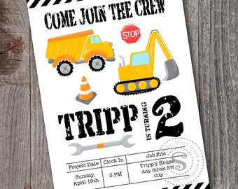 Construction Birthday Invitation -PRINTABLE -Construction Crew -CUSTOM -Boy Birthday -Dump Truck -Back Hoe -Construction Party Theme -trucks