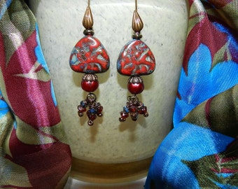 Handmade Deep Red Freshwater Pearl and Glass Picasso Earrings