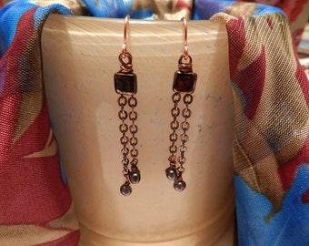 Handmade Chain and Freshwater Pearl Earrings