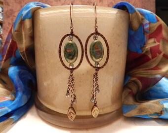 Handmade Bead and Leaf Dangle Earrings