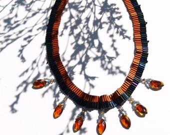 Beaded statement necklace Dactylis glomerata